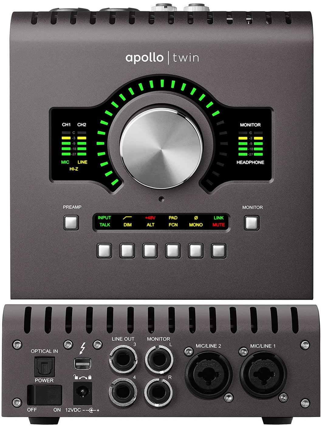 Universal Audio APOLLO TWIN MKII:コントロール系統