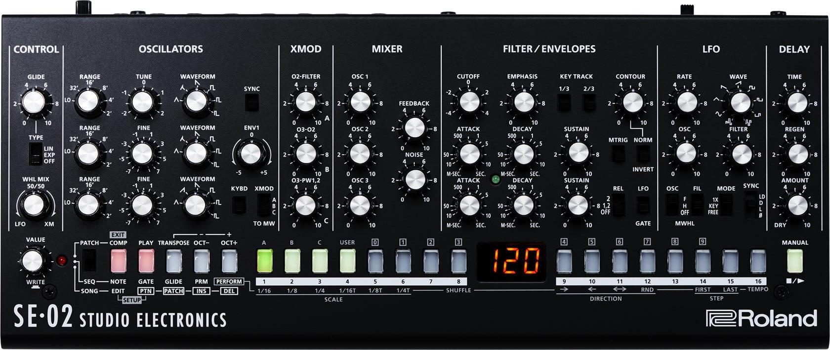 Roland SE-02:コントロールパネル